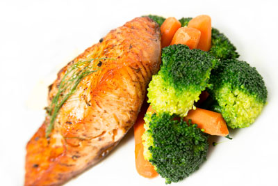 Salmon and steamed vegetables